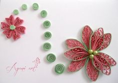 Quilled flor rosa - Quilling Cafe