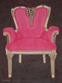 The Pink Chair, Water color pencil drawing of an ornate heart back chair with hand carvings. Prints available.#MargaretNewcomb #FineArt #QuadCities #Pink #chair #PencilDrawings #WaterColor #shabby #chic Visit my Fine Art Store to purchase Prints: http://margaret-newcomb.artistwebsites.com/art/all/all/framed+prints