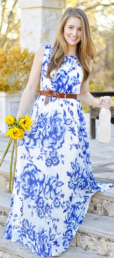 Eliza J blue and white floral maxi with full pleated skirt. Gorgeous dress I bought at Nordstrom. Easter dress?