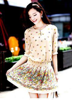 2014 Summer New Fashion Retro Print Dress Hem Sleeve Elastic Waist Dress Apricot  Item number:LY14042907 Wholesale price:US$ 10.00 link:http://goo.gl/x66tS6