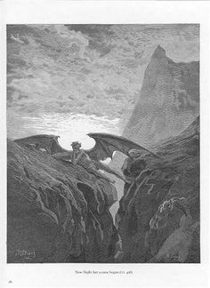 Plate no. 26 Book VI line 406 'Now Night her Course began..' - Gustave Dore