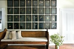 country home hallway with a bench with white cushions, wood floor and a wall lined with 32 pressed botanicals framed in black and all on black