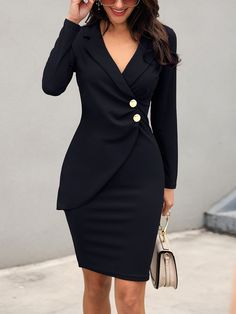 Ruched Button Design Blazer Dress Sleeve Length: long sleeve Occasion:Casual,Work wear Dress Silhouette: sheath Pattern Type: plain Style: elegant Material: polyester Collar & neckline: notch lapel Style:Brief Trend Fashion, Look Fashion, Womens Fashion, Cheap Fashion, Female Fashion, Ladies Fashion, Fashion Ideas, Mode Outfits, Fashion Outfits