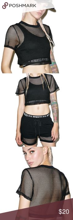 Dolls Kill Mesh Crop Top Sold out online. Black mesh crop top. Worn once. Can be sold paired with the shorts! Dolls Kill Tops Crop Tops