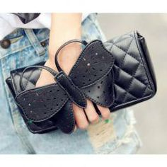 $7.70 New Arrival Covered Bowknot and Rhombus Embossing Embellished Slanting Bag/One-Shoulder Bag For Female