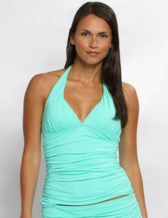 79cd4477da9d5 La Blanca Island Goddess Aquamarine Halter Tankini Top & Banded Hipster Bottom  Swimsuit
