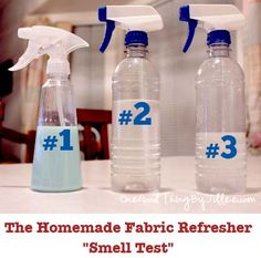 "Homemade Fabric Refresher That's A ""Breeze"" to Make!: #1 1/2 cup white distilled vinegar, 1/2 cup distilled water, 1/4 cup liquid fabric softener. Pour each of the ingredients into spray bottle and give it a shake. #2 1 cup rubbing alcohol  1 cup white distilled vinegar, 10-20 drops of your choice essential oil (Lavender). #3 1 cup  distilled water, 1/4 cup white distilled vinegar,  1 Tbsp rubbing alcohol, 1/2 Tbsp baking soda, 8-10 drops essential oil. Put into spray bottle and shake it up."