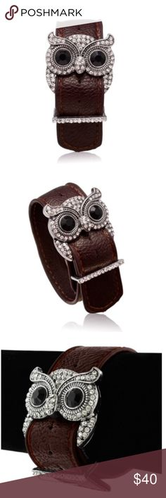 """Brown leather & crystal owl cuff Adorable brown leather and Swarovski crystal cuff bracelet is a fun and trendy addition to any wardrobe.  Owl is 1"""" with a silver base and leather is 1"""" wide.  Bracelet fits wrists 7-8"""". trades Jewelry Bracelets"""