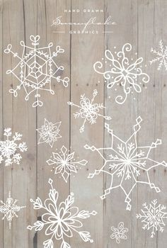 Hand Drawn Snowflake Graphics - Designs By Miss Mandee. Lovely snowflakes—perfectly unique for a holiday design! Free to download.