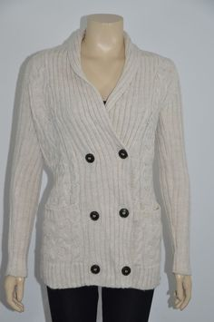 ZARA Wool Blend Long Sleeves Knit Ivory Color Women Jacket Size Small On Sale #ZARA #BasicJacket