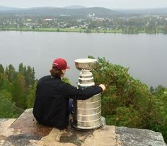 Oskar Sundqvist overlooks his hometown of Boden, Sweden with the Stanley Cup.