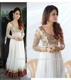 white chiffon anarkali suit with golden work