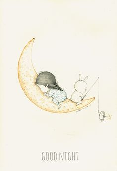 """""""Good Night"""" by Coniglio Pencil Art Drawings, Cute Drawings, Illustration Sketches, Art Sketches, Creative Pictures, Cute Little Girls, Whimsical Art, Cute Art, Illustrators"""