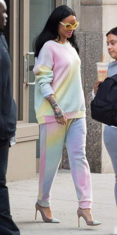 Stepping out in Elder Stateman pastel sweats, pumps and yellow oversized cat eye sunglasses