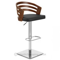 Our Rapport Walnut Bar Stool Black Leather is an upmarket design with a trendy bentwood backrest.
