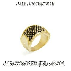 d51deaf16 ALLYSON RING - Delight your digits with Allyson. This hammered gold plate  ring is covered with a serious splash of onyx Swarovski crystals, making it  a real ...