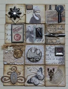 Collage mosaic with vintage embellishments