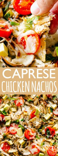 This easy chicken recipe turns nachos into a full meal! Cheesy Caprese Chicken Nachos loaded with cheese, balsamic chicken, sweet tomatoes & fresh basil. Pollo Caprese, Caprese Chicken, Balsamic Chicken, Chicken Nachos Recipe, Easy Chicken Recipes, Appetizer Recipes, Dinner Recipes, Appetizers, Dinner Entrees