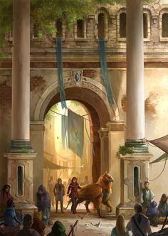 Market Gate by sandara city griffon rider ranger wizard warlock sorceress druid landscape location environment architecture   Create your own roleplaying game material w/ RPG Bard: www.rpgbard.com   Writing inspiration for Dungeons and Dragons DND D&D Pathfinder PFRPG Warhammer 40k Star Wars Shadowrun Call of Cthulhu Lord of the Rings LoTR + d20 fantasy science fiction scifi horror design   Not Trusty Sword art: click artwork for source