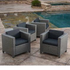 Puerta Outdoor Club Chairs with Water Resistant Cushions (Set of 4) by Christopher Knight Home - Free Shipping Today - Overstock.com - 20634179