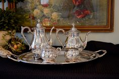 Vintage Silver Plate Tea Set - Wm Rogers & Son Silver Plate Tea Service - Silver Plate Serving Tray - Silver Teapot - Silver Coffee Pot by PearlsParlor on Etsy https://www.etsy.com/listing/257301639/vintage-silver-plate-tea-set-wm-rogers