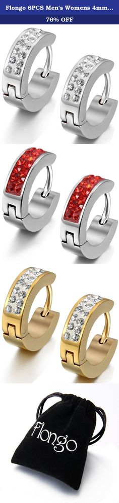 """Flongo 6PCS Men's Womens 4mm Wide Stainless Steel CZ Stud Hoop Huggie Earrings Charm Elegant Set. Flongo 6PCS Men's Womens 4mm Wide Stainless Steel CZ Stud Hoop Huggie Earrings Charm Elegant Set Size: 0.16""""(0.4cm)*0.47""""(1.2cm) Material: Stainless Steel Package Included: 3 x Flongo Stainless Steel Earrings 1 x Gift bag Why choose Stainless Steel Jewelry? Stainless steel does not readily corrode, rust or stain with water as ordinary metal does. Its resistance to corrosion and staining, low..."""