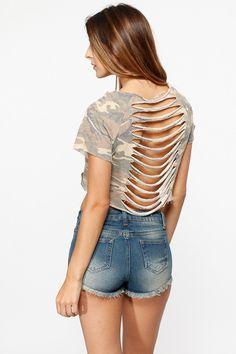 Destroyed Camo Cropped Tee @ Cicihot Top Shirt Clothing Online Store: Dress Shirt,Sexy Womens Shirt,T Shirts,Corset Dress,White T Shirt,Girl T Shirt,Short sleeve top,Sexy Shirts