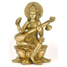 Hindu idols galleries - Sculptures From Ganges India Art store Saraswati Murti, Saraswati Statue, Mother Goddess, India Art, Aesthetic Beauty, Art Store, Religious Art, Goddesses, Sculptures