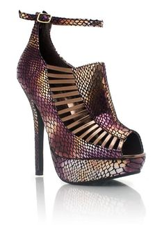 peep-toe reptile metallic platforms $31.90