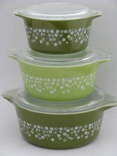 green pyrex spring   lime green and white crazy daisy spring blossom Pyrex casseroles set