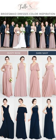 Rose bridesmaid dresses - navy blue and dusty rose bridesmaid dress color inspiration for 2018 wedding weddinginspiration bridesmaids bridesmaiddress bridalparty maidofhonor weddingideas weddingcolors tulleandchantill Dusty Rose Bridesmaid Dresses, Dusty Rose Dress, Bridesmaid Dress Colors, Blue Bridesmaids, Wedding Bridesmaids, Dress Wedding, Wedding Flowers, Wedding Blue, Navy Blue Suits Wedding