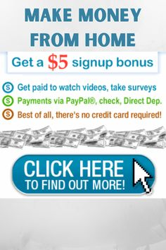 Get $5 to register and earn for watching videos, taking surveys, performing work tasks online and more. Work From Home Moms, Make Money From Home, Make Money Online, How To Make Money, Online Income, Online Jobs, Take Surveys, Work Task, Work From Home Opportunities
