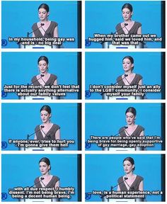 Anne Hathaway on being a decent human being - love is a human experience not a political statement. my respect for her has multiplied!