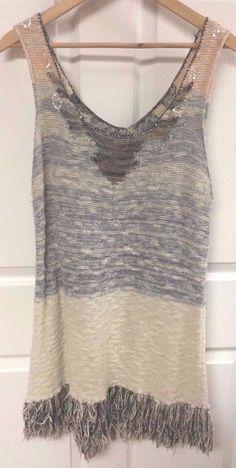 212d95c97ec5a0 Buckle Gimmicks by BKE Sleeveless Long Sweater Fringe Dress Size Medium  Glitter  Buckle  ScoopNeck