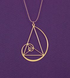 Golden spiral with golden triangle necklace- Fibonaci 24 Karat gold plated pendant- statement necklace