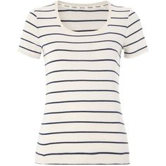 Moda Stripe Jersey Top Women George at Asda (€6,99) ❤ liked on Polyvore featuring tops, t-shirts, shirts, blusas, scoop neck tee, jersey t shirt, white scoop neck tee, jersey shirt and white tee