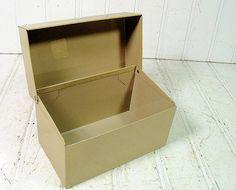 Industrial Brown Metal Recipe Box  Vintage Ohio by DivineOrders, $9.00