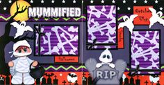 HALLOWEEN-2-premade-scrapbook-pages-paper-piecing-layout-4-album-BY-CHERRY