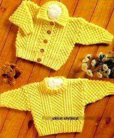 PDF Digital Knitting Pattern Baby Children s Aran Cable Sweater Cardigan 16 to 24 Aran yarn