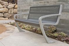 Balance Bench shown in backed configuration with Aluminum Texture powdercoated frame and Slate Texture powdercoated seat