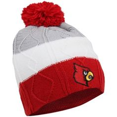 adidas Louisville Cardinals Cuffless Knit Beanie - Cardinal/White/Ash