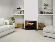Multi fuel and Wood Burning fires Inset Log Burners, Modern Log Burners, Modern Wood Burning Stoves, Inset Stoves, Wood Burning Fires, Inset Fireplace, Wood Burner Fireplace, Modern Fireplace, Living Room Tv