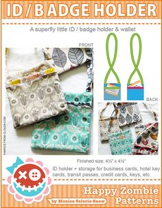 ID /Badge Holder PDF sewing pattern by Happy Zombie, via Flickr