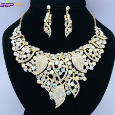 Aliexpress.com : Buy Seperwar 02517 Bridal Clear Leaf Flower Necklace Earring Sets W/ Rhinestone Crystals Wedding Free Shipping from Reliable Necklace suppliers on Seperwar High Quality Crystals Jewelry