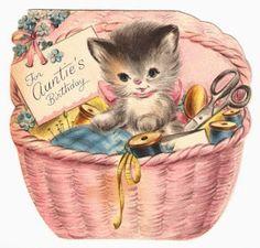 kitten birthday card for Auntie Aunty birthday auntie card birthday vintage retro cat Vintage Ephemera, Vintage Cards, Vintage Postcards, Vintage Images, Old Greeting Cards, Old Cards, Vintage Birthday Cards, Birthday Greeting Cards, Gatos Cats