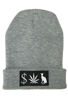 365e1ff4feb Classy Brand MONEY WEED PUSSY CAT BEANIE Stoner Style
