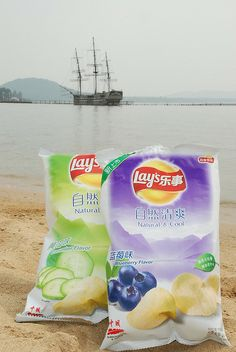 Cucumber and blueberry flavour crisps Lays Potato Chip Flavors, Lays Potato Chips, Types Of Snacks, Japanese Desserts, Chip Bags, Ice Cream Flavors, Tortilla Chips, Cute Food, Pepsi