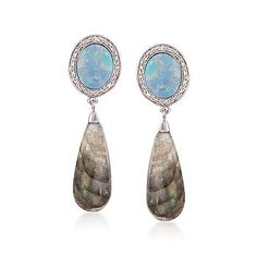 Charming and whimsical, our blue opal and labradorite drops are cleverly coordinated in harmonious hues. Accented with diamonds.
