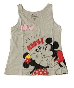 Disney Mickey & Minnie Mouse KISS Womens V Neck Pajama T Shirt Tank Top - Grey