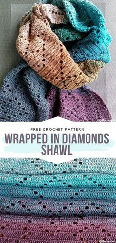 How to Crochet Wrapped in Diamonds Shawl Wrapped in Diamonds Shawl Free Crochet Pattern Diamonds are a girl's best friends and, if you are not a fan of expensive. Crochet Shawl Free, Crochet Wrap Pattern, Bag Crochet, Crochet Gratis, Crochet Motifs, Crochet Shawls And Wraps, Crochet Blanket Patterns, Crochet Scarves, Crochet Clothes